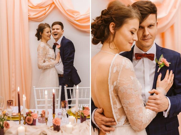 para młoda w pastelowej sukni ślubnej i garnitur z Giacomo Conti na ślub
