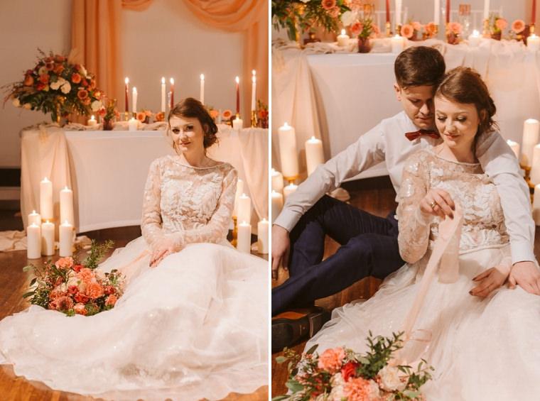 suknia ślubna brzoskwiniowa kolorowa living colar