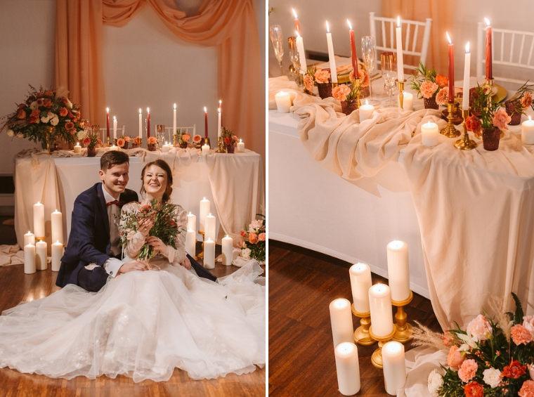 dekoracja ślubna ze świecami w pastelowych kolorach w łodzi
